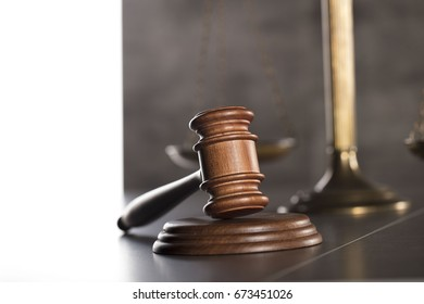 Gavel. Law concept. Gray background.
