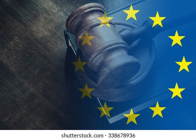 Gavel and legal book on wooden table, collage with european union flag
