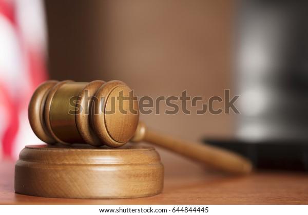 Gavel on court desk
