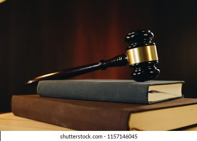 Gavel on hard cover books