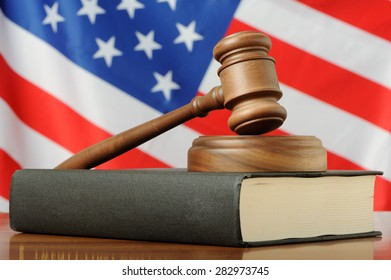 Gavel on a USA flag background
