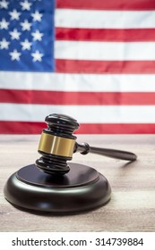 Gavel on Wooden tables, USA flag