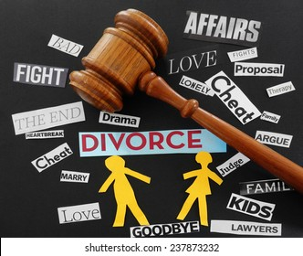 Gavel and paper couple with Divorce related messages