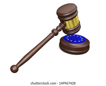 Gavel and symbol of European Union isolated on white background, concept of european law