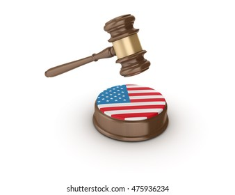 Gavel with USA Flag on White Background - High Quality 3D Rendering