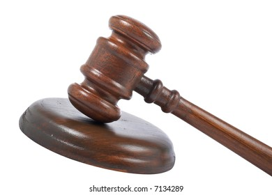 Gavel wooden detail isolated on white background