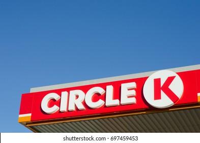 Gavle, Sweden - July 29 2017. The sign and logo of international chain of gas stations, Circle K in Gavle, Sweden