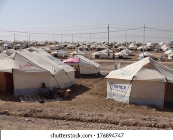 GAWILAH REFUGEE CAMP, BARDARASH, KURDISTAN, IRAQ - 2013 OCTOBER 24 - Many tents in Gawilah (gawilan) camp depict the drama occurring in the region