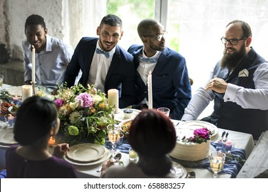 Gay Couple Gathering with Friends