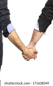 Gay couple hand by hand