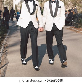 Gay Couple Holding Hands on Their Wedding Day