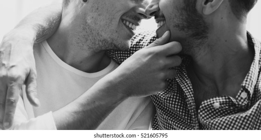 Gay Couple Love Home Closeup