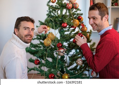 Gay couple of men happy during christmas time