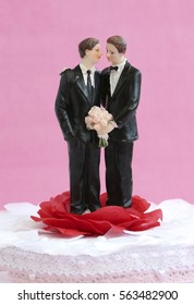 A gay couple on top of a wedding cake