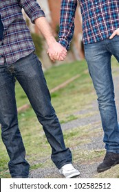 Gay Couple Outside Holding Hands, Italy