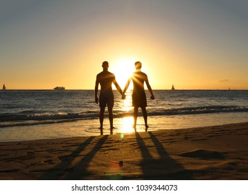 Gay Couple Sunset Silhouette