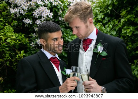 Gay Couple Wedding Reception Toast Being Stock Photo Edit Now