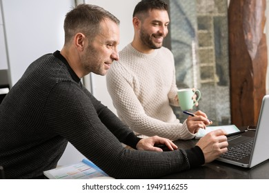 Gay couple working together at home with their laptops.
