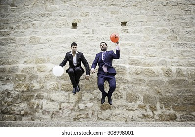 Gay couples in civil marriage, love and relationship