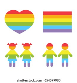 Gay family LGBT rights raibow icons white. Bright color homosexual community illustration