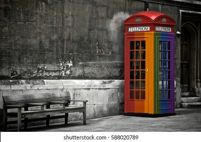 Gay flag painted on a phone box in London, United Kingdom
