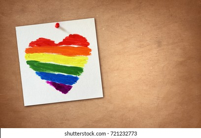 Gay flag rainbow heart background with copy space for lgbt message