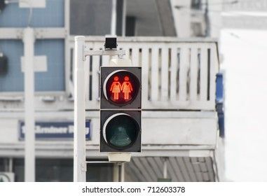 Gay friendly traffic light in Vienna, Austria
