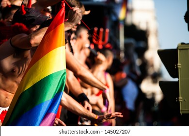 Gay and lesbians walk in the Gay Pride Parade