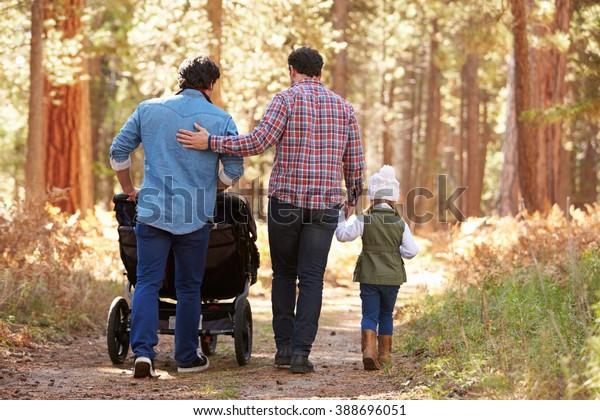 Un Couple Homosexuel Poussant Des Enfants Dans Le Buggy À Travers Woods