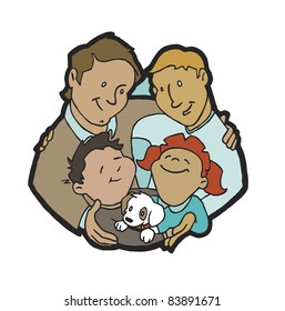 Gay male couple with son, daughter and family dog; two dads with kids and pet.