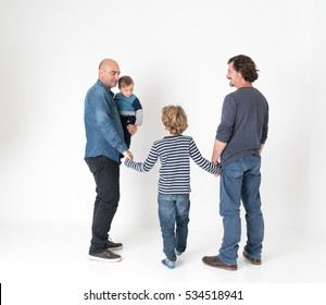 Gay male couple with two children