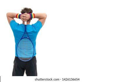 gay man tennis player wearing a hair ribbon and bracelet flag of pride on a white isolated background