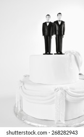Gay marriage concept Two men in tuxedoes wedding cake toppers copy space on white 37 US states and about 20 countries have approved same sex marriage, Ireland recently voted for equal marriage.