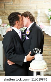 Gay marriage couple kissing at their wedding reception.