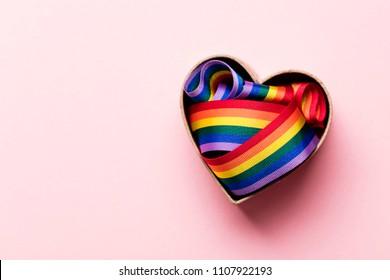 Gay pride LGBT rainbow ribbon in a heart shape