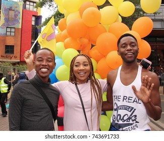Gay pride in Melrose Arch, Johannesburg. South Africa. October 28th 2017. Gay pride on a continent that is generally hostile to LGBT people. Gays from as far away as Kenya came to celebrate.