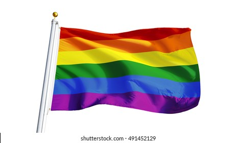 The gay pride rainbow flag waving on white background, close up, isolated with clipping path mask alpha channel transparency
