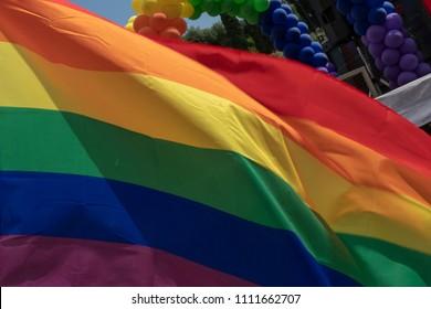 Gay Pride rainbow peace flag back light