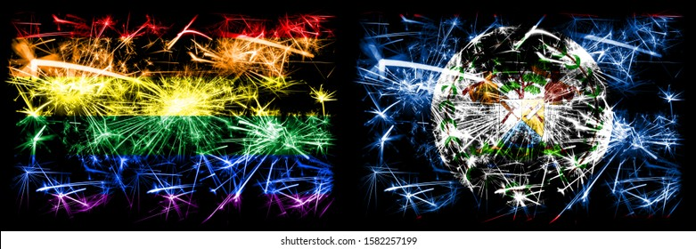 Gay pride vs Belize, Belizean New Year celebration sparkling fireworks flags concept background. Abstract combination of two flags.