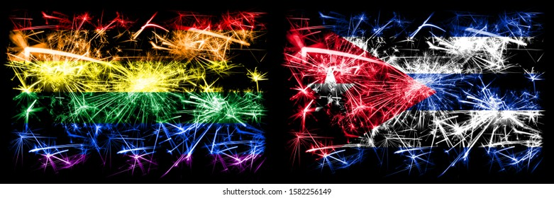 Gay pride vs Cuba, Cuban New Year celebration sparkling fireworks flags concept background. Abstract combination of two flags.