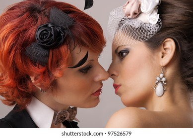 gay wedding, two brides almost kiss