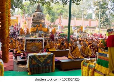 Gaya,  India - January 6, 2019 : Buddhist monks offer prayers near Holy Bodhi Tree at World Heritage Mahabodhi Temple in Bodh Gaya in Bihar northeast