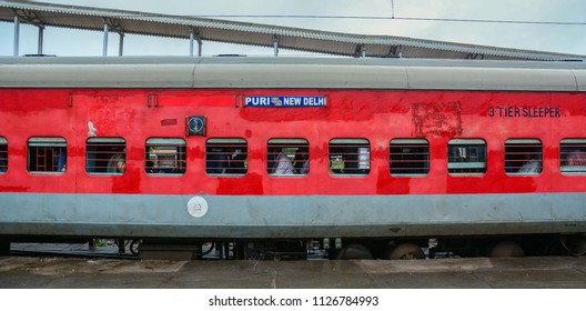 Gaya, India - Jul 10, 2015. A train stopping at railway station in Gaya, India. Gaya is a holy city beside the Falgu River, in the northeast state of Bihar.