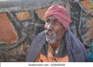 GAYA,BIHAR, INDIA- february 25, 2019:  Unidentified blind man-beggars on street of Gaya,India