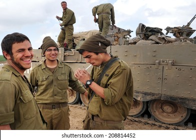 GAZA STRIP -JAN 17 2009:Israeli army soldiers are resting on the Jewish holiday of Shabbat during ceasefire with Hamas on Cast lead operation, Gaza War (2008�¢??09).