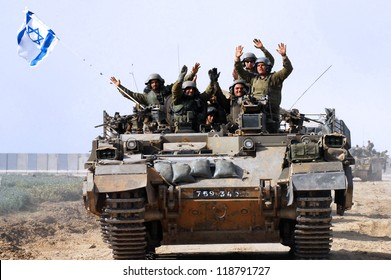 GAZA STRIP - JANUARY 16: The first Israeli troops leaving Gaza Strip after Cast Lead operation on January 16 2009. It was a three-week armed conflict in the Gaza Strip during the winter of 2008-2009.