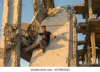 Gaza strip, Palestine. 07.02.17.Yasser Arafat International Airport. Tracer Jihad on the ruins of the airport.