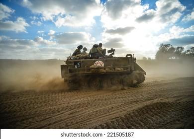 Gaza Strip/Israel -July 18 th - israeli armored personal cariier on their way into Gaza Strip in July 18th 2014 during Israel -Hamas fighting