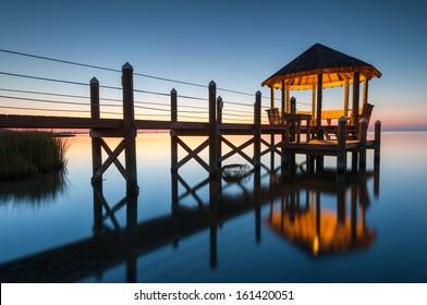 Gazebo at Dusk North Carolina Outer Banks Pamlico Sound Reflection