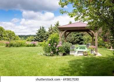 Gazebo garden in the summer, beautiful.